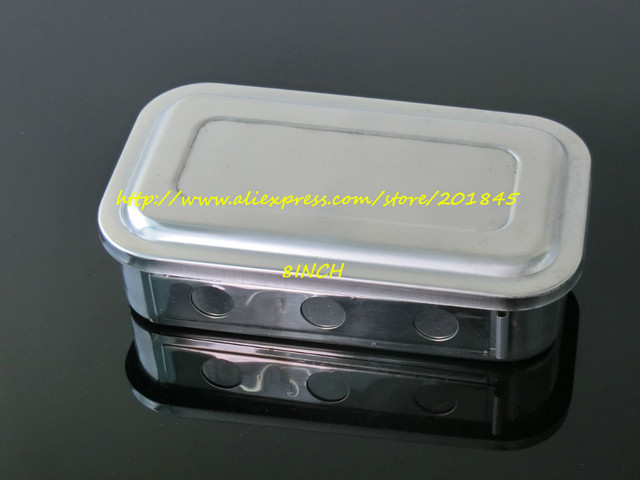 1Pc Stainless steel medical disinfection box with cover plates with holes of high temperature sterilizer 8 inch