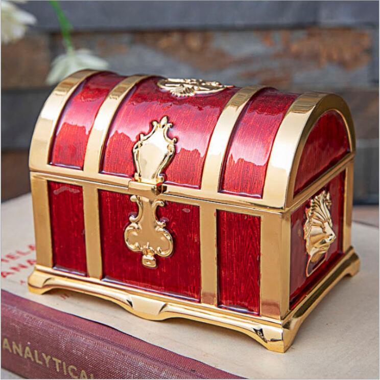 Europe style medium metal jewelry storage box cotton holders makeup organizer smalljewerly box for gilrs girft Z170