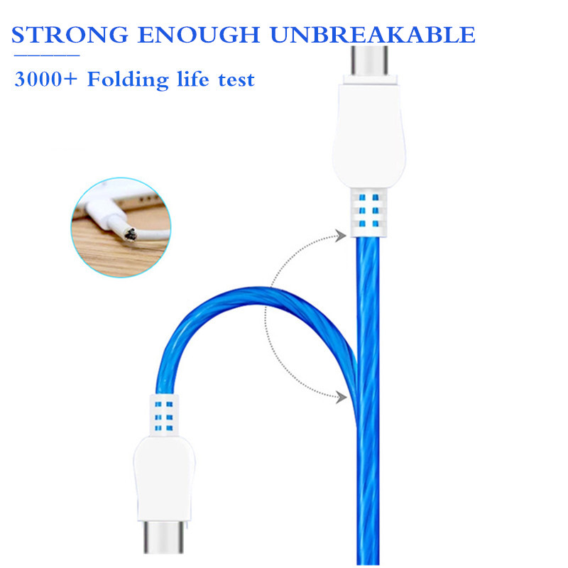 USB Cable Micro USB Cable Flowing LED Glow Charging Data Sync Mobile Phone Cables For iPhone Type C Android Samsung S7 Led Wire in Mobile Phone Chargers from Cellphones Telecommunications