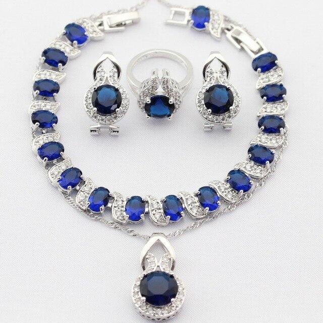 Круглый Серебристый Цвет Рождество Женщины Ювелирные Наборы Синий Имитационные Сапфир AAA CZ Ожерелье Серьги Кольца Браслет