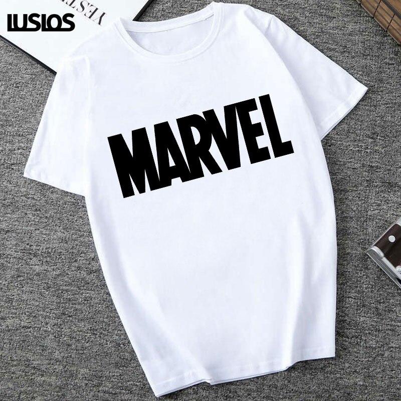 LUSLOS MARVEL Letter Print   T     Shirt   Women Short Sleeve White Casual Tshirt the Avengers Female Slogan Summer   T  -  Shirts   Super Soft