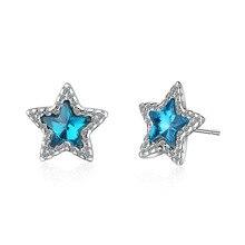 Elegant Shine Cubic Zirconia Blue Star Women Gift 925 Sterling Silver Lady Stud Earrings Original Jewelry No Fade Wedding