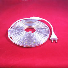 led strip 5050 AC 220V for tape LED with waterproof led strip Light 10M 20m +Power Plug 60 leds/M With warmwhite white