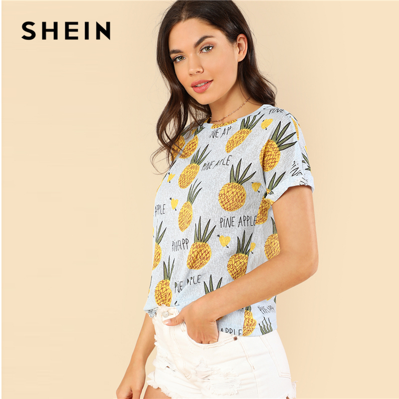 SHEIN Blue Preppy Round Neck Short Sleeve Fruits Print Letter Regular Fit Tee Summer Girls Youthful T-shirt Top