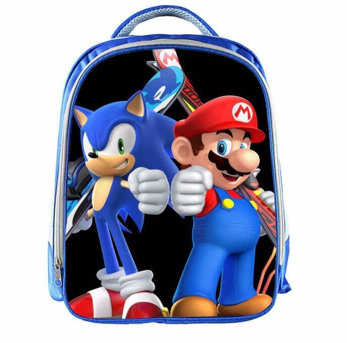 Super Mario Sonic Backpack Rucksack Boy Girl Kids Student Bag Cartoon School Bag
