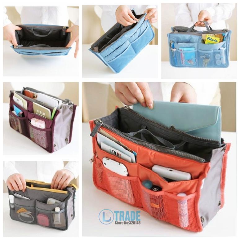 c21950320 Esteticista 12 colores nylon cosmética bolso organizador de la manera del bolso  insertar con bolsillos Bolsas de almacenamiento 10 unids/lote a338