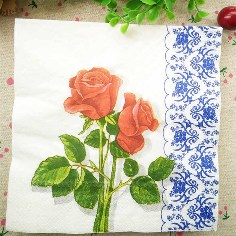 4 papel de Almuerzo Servilletas Para Decoupage Craft Vintage Servilleta Día De Boda Rosa