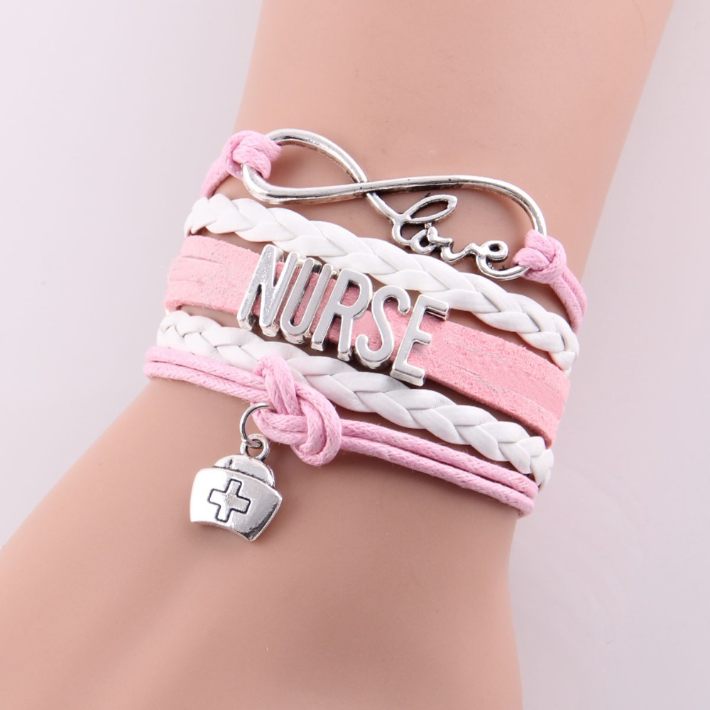 Little Minglou infinity love NURSE Bracelet nurse hat charm leather wrap men bracelets & bangles for women jewelry Drop Shipping