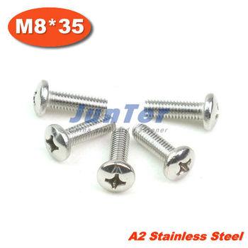 100pcs/lot DIN7985 M8*35 Stainless Steel A2 Pan Head Phillips (Cross recessed pan head) Screw