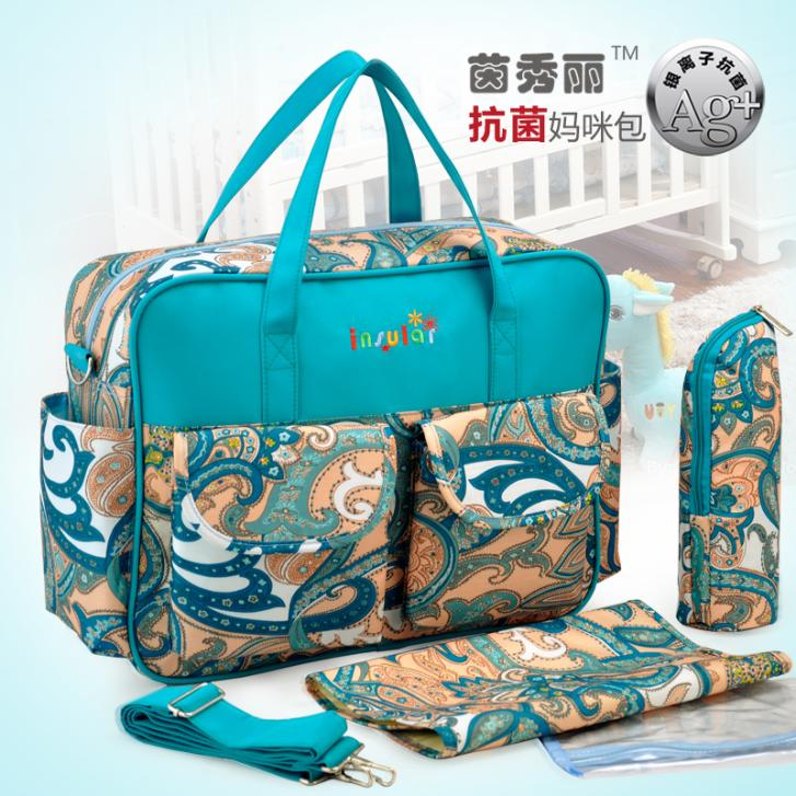 Hot Sale Antimicrobial Baby Diaper Bag Waterproof Mommy Bag Fashion Nappy Bag With Waterproof Nylon Material