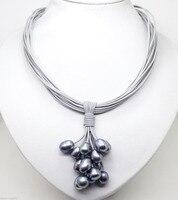 Бесплатная доставка Горячей продажи новый Стиль>>>>> Мода Черный Жемчуг Ожерелье Кожаный Шнур Сеть Магнит Застежка 18''
