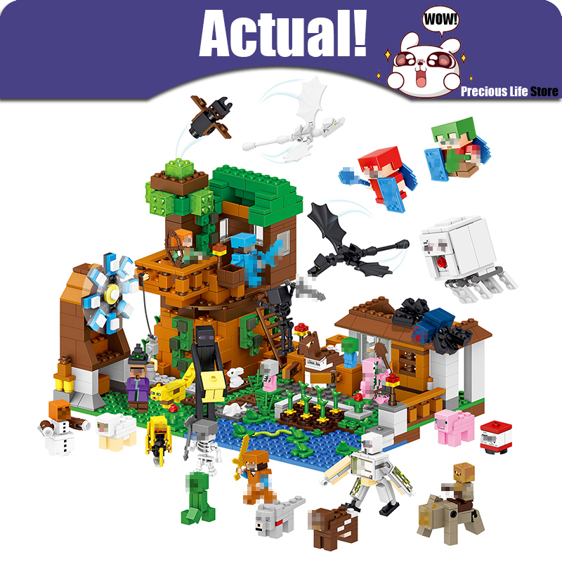 Tree House 1007pcs LELE Minecraft My World Building Blocks Bricks Educational Action Figures DIY Toys For Kids with 50+ Figures lepin my world 406pcs classic tree house legoingly minecraft model figures building blocks bricks kids toys for children gift