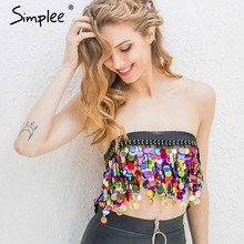 Simplee Zwart kralen zomer strand korte top tees Backless sash punk crop top vrouwen Sexy keten sequin tassel chiffon tube top(China)