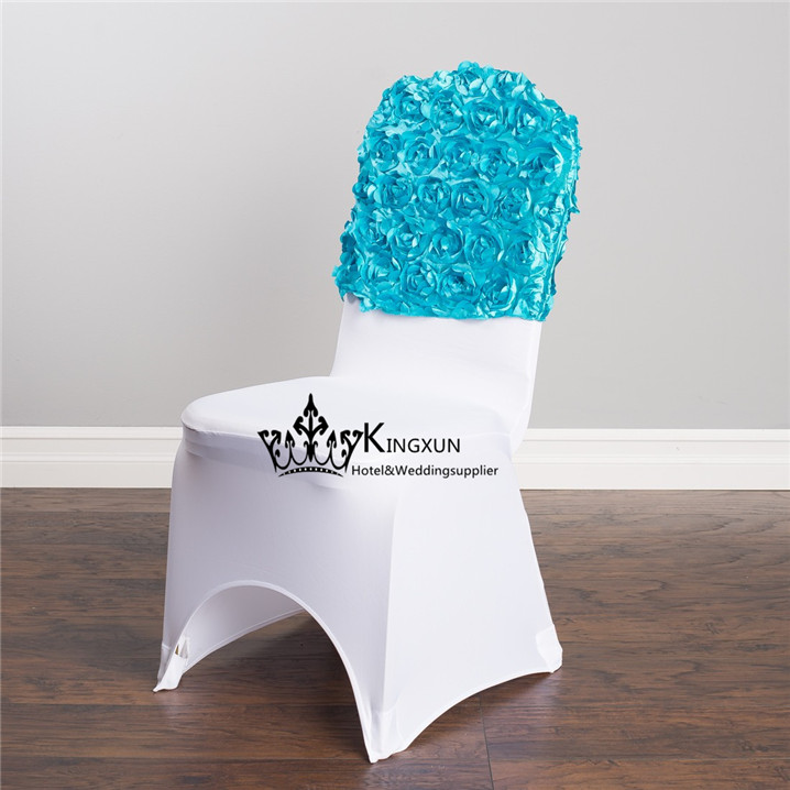 Nice Looking Turquoise Color Satin Rosette Chair Cap  Chair Hood For Chair Cover