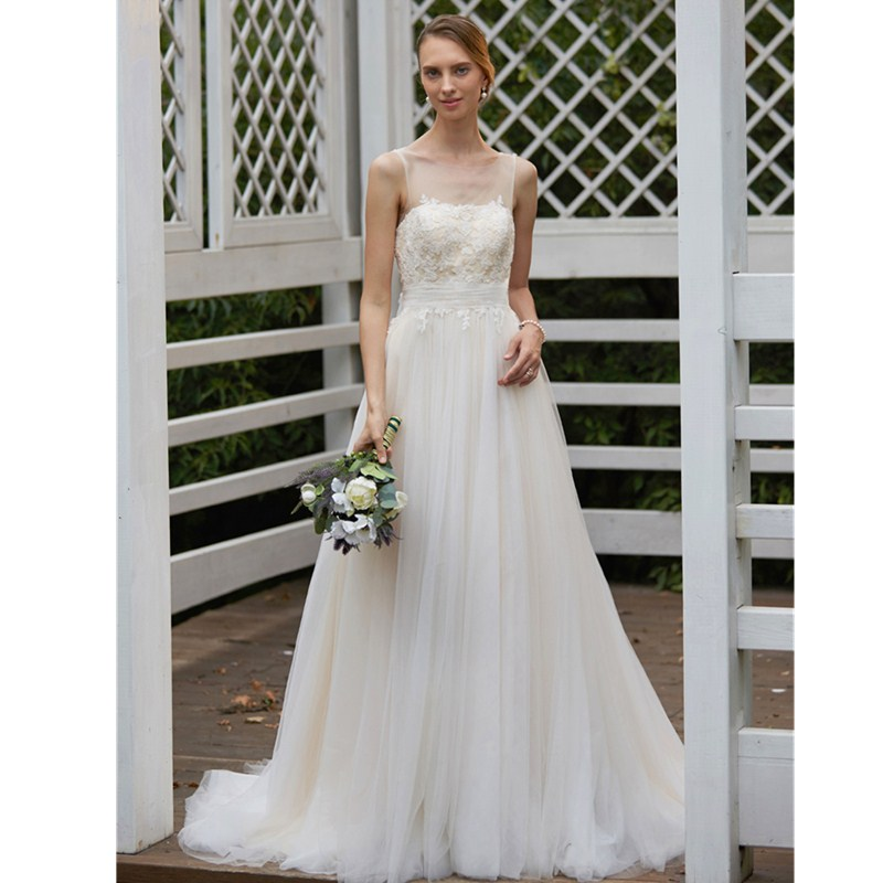 LAN TING BRIDE A-Line Princess Illusion Neckline Sweep / Brush Train Chiffon Wedding Dress Tulle with Appliques Bow(s) Sashes