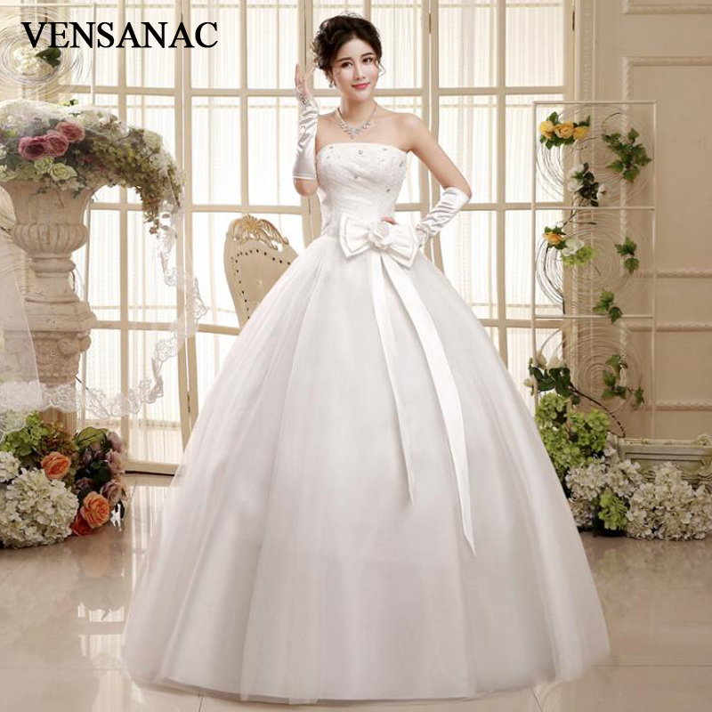 Crystal Wedding Gown: VENSANAC Pleat Crystal Strapless Lace Appliques Ball Gown