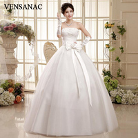 VENSANAC Pleat Crystal Strapless Lace Appliques Ball Gown Wedding Dresses 2018 Sequined Flowers Bow Sash Bridal Gowns
