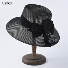 USPOP 2019 New summer straw hats elegant bow sun breathable polyester large brim beach hat