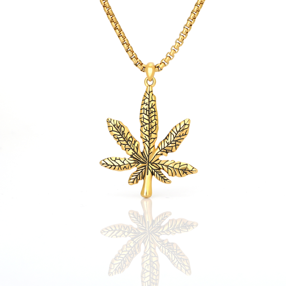 Dropshipping Fashion Maple Leaf Necklace Hemp Pendant Charm Chain For Women Men Small Weed Herb Jewelry