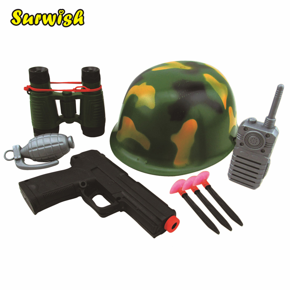 Surwish Military Solider Role Play Boys Toy Camouflage Hat Walkie Talkie Telescope Hand Gun Bullets Set gyq 3500 5w 1 35 screen display 16 channel 400 470mhz walkie talkie set w voice encryption black