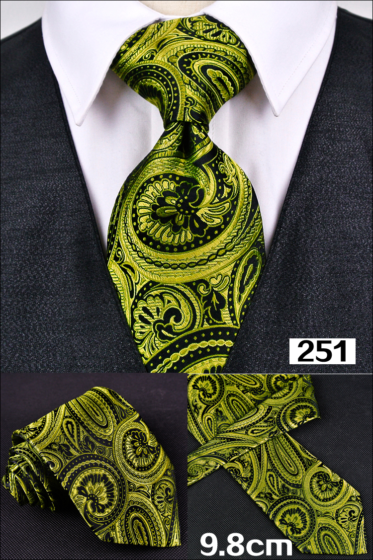 Classique contrôles Argent Noir Jacquard Tissé 100/% Soie Hommes Cravate Cravate Hot