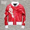 Designer red with white floral print genuine leather jackets coat 100% Lambskin motorcycle jacket veste en cuir femme LT1013