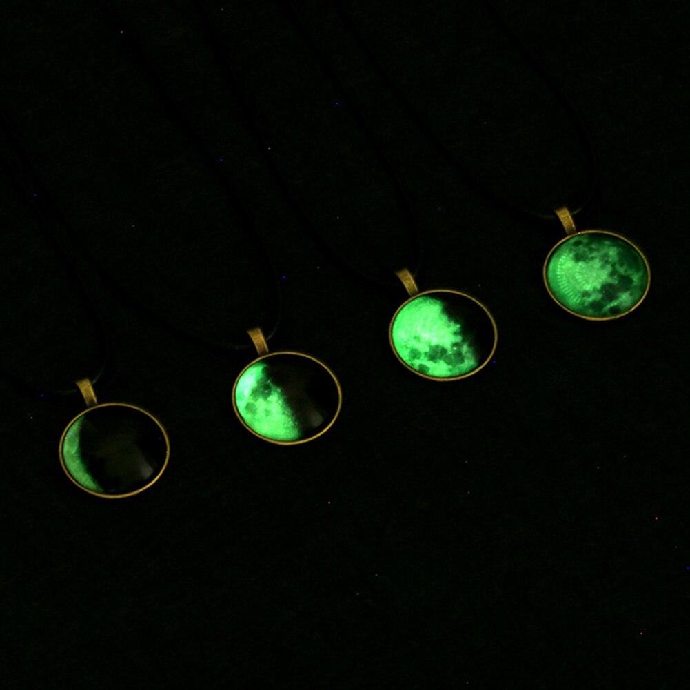 zheFanku Luminous Pendant Starry Eclipse Night Necklace Glass Art Pendant Necklace Art Gift Necklace