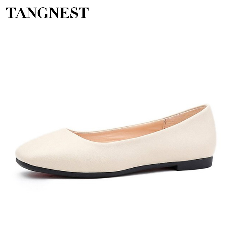 Tangnest Fashion Flats Women Loafers Soft PU Leather Shallow Women Casual Shoes Square Toe  Women Moccasins Black White XWD6474 women ladies flats vintage pu leather loafers pointed toe silver metal design