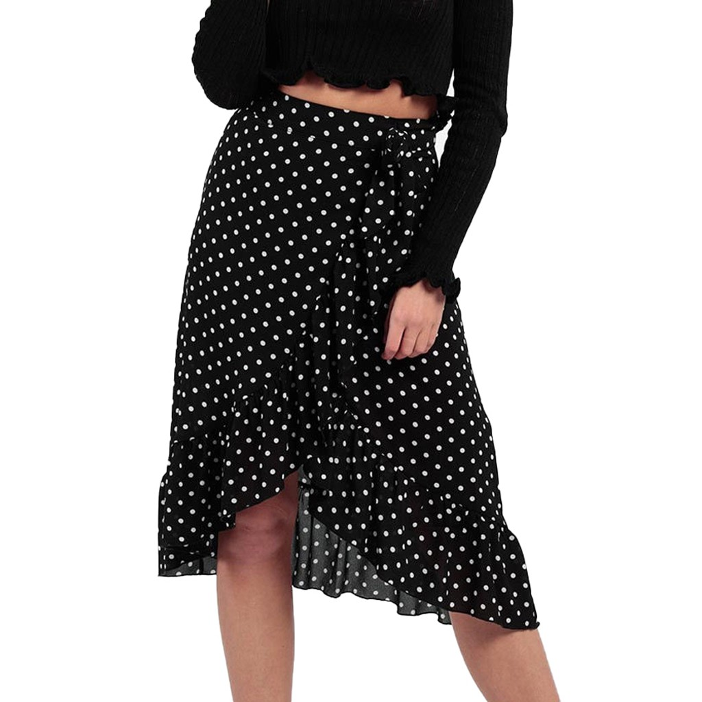 Womens Ladies High Fashion Tie Bow Ruffle Hem Wave Point Frill Wrap Midi Skirt Skirt Women Cute Sweet Girls Dance Skirt Юбка
