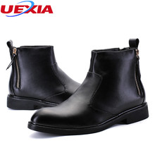 UEXIA Fashion Leather Formal Business Wedding Party Mens Boots Fishing Boots Men Shoes Flats Ankle Martin Boots Rainboots Zipper