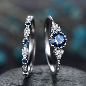 Women Ring Crystal-Rings Rhinestone Blue Green Jewelry Engagement Cubic-Zirconia Anel