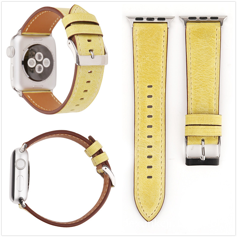 Multi color Optional Retro Simple Solid Color for Apple Iwatch 1 2 3 Series Leather Watch Strap 38 Mm 42 Mm Strap and Adapter in Watchbands from Watches