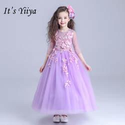 Это yiiya новые аппликации для девочек в цветочек платья Фиолетовый лодыжки-Длина платье для девочек Половина рукава Принцесса бальное