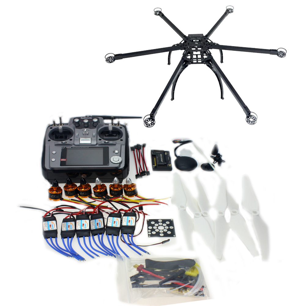 DIY 2.4GHz Six-axis Hexacopter Drone Kit with RadioLink AT10 Transmitter RX APM 2.8 Flight Controller Brushless Motor F10513-G