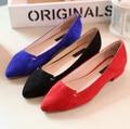 Pele de carneiro Sapatos Flats Mulher Sapatas Das Senhoras Sapatos de Couro Genuíno Das Mulheres Flats Mulheres Sapatos de Camurça Mulher Flats Pointed Ballet Toe FS-0036