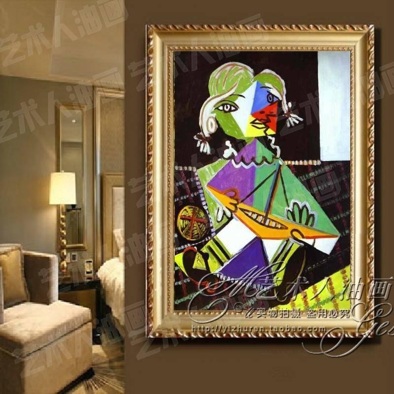 Pintado a mano pintura al óleo enmarcada pintura de Picasso corredor ...