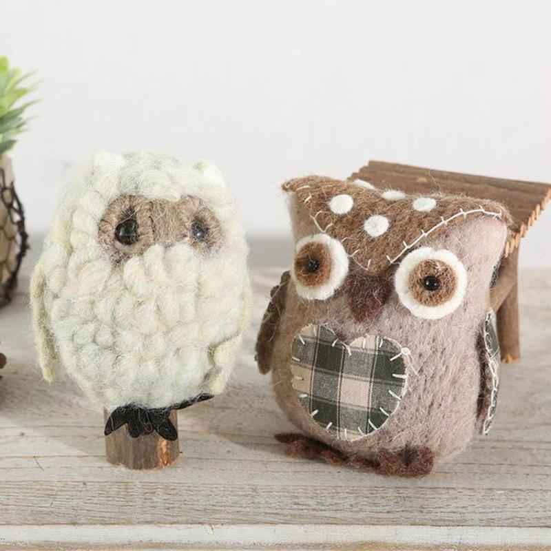 Handmade Craft Ornament Forest Department Wool Felt Milk Candy Owl Shape kids gift home living room Decoration accessories A35