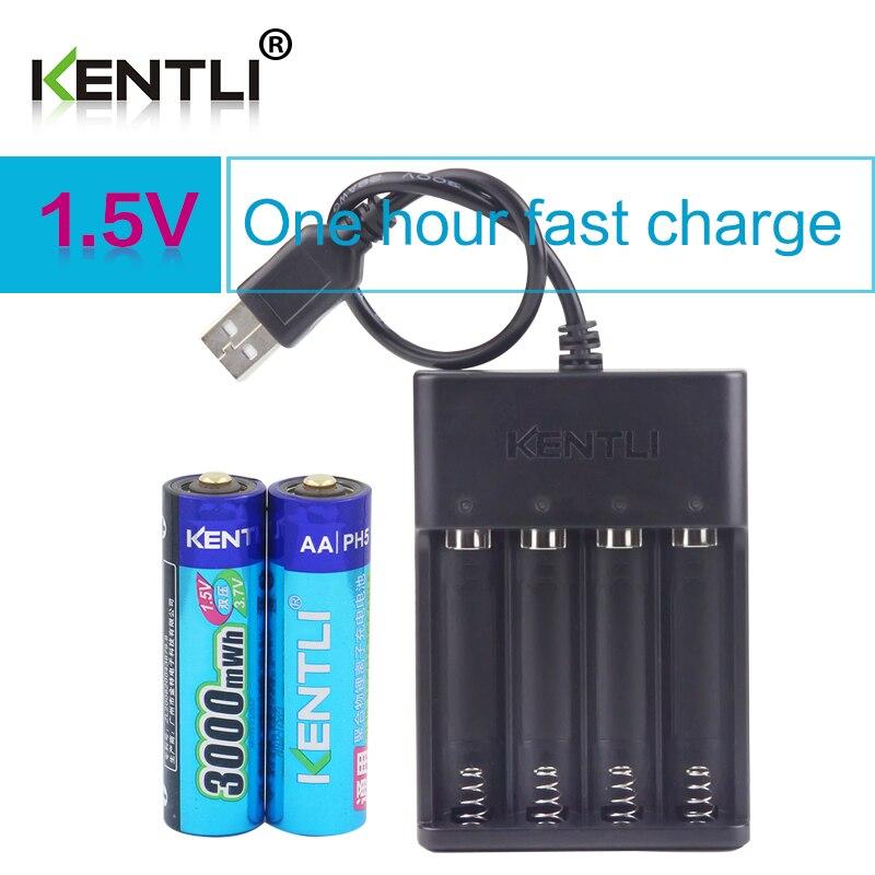 KENTLI 2 шт. AA 1,5 V 3000mWh литий-ионная аккумуляторная батарея + 4 слота полимерный литий-ионный аккумулятор зарядное устройство