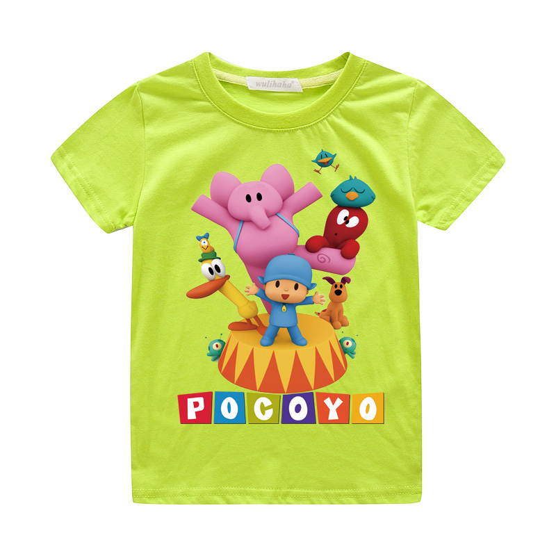 Girls Cute Cartoon Pocoyo Print T-shirts Costume Boys Short Sleeve Tshirts Clothing Children Summer Casual Tee Top Clothes ZA064 (3)