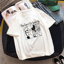 You Can't Sit With Us Villain Cartoon Letter print T-shirt New Summer Women Harajuku Maleficent Evil Queen Graphic Cool Tee Tops(China)