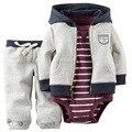 Envío libre del bebé bebes niños ropa set chaqueta + romper + pantalones muchacho de la muchacha ropa infantil Otoño Primavera niños trajes