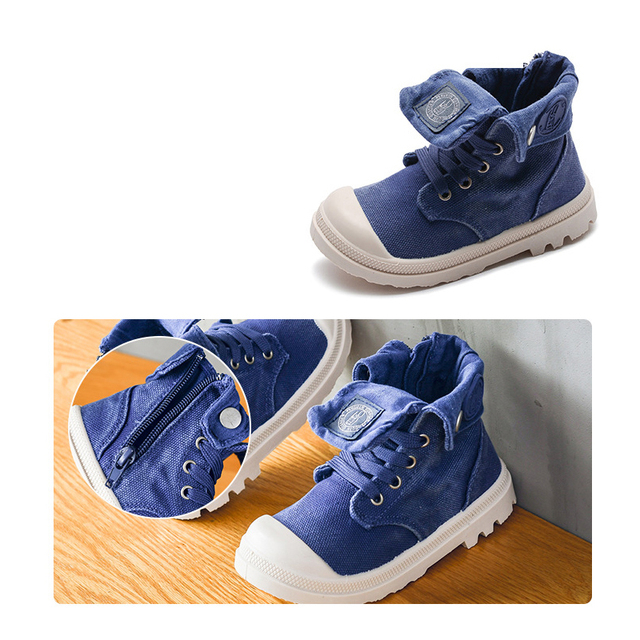 2019 Spring Autumn New Kids Sneakers High Children's Canvas Shoes Boys And Girls Child Baby Martin Boots Casual Military Boots 2