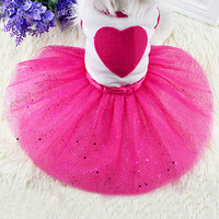 New arrival Pet Dog Love Heart Sequins Gauze Tutu Dress Skirt Puppy Cat Rose Red Clothes