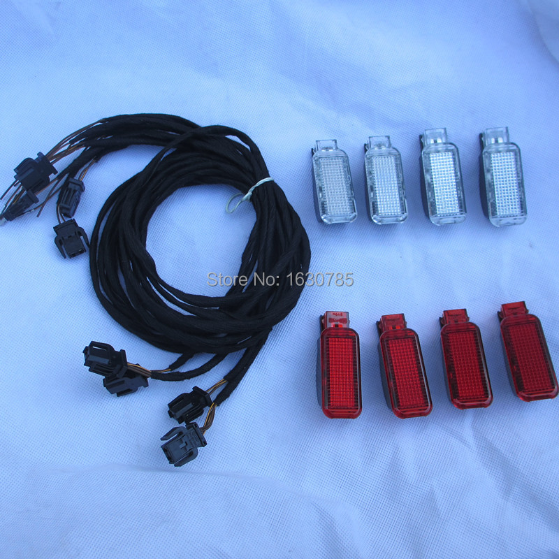 8Pieces Set New Door Warning font b Lights b font lamp For AUDI A3 A4 A5