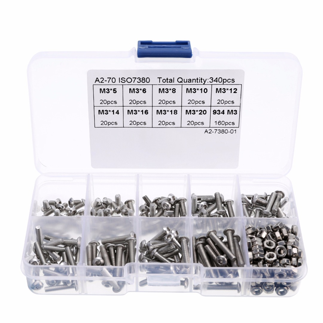 340pcs 304 Stainless Steel Hex Screw Assortment M3 Round Head Screws 5mm-20mm + Hexagon Nuts For Machinery Repair Mayitr