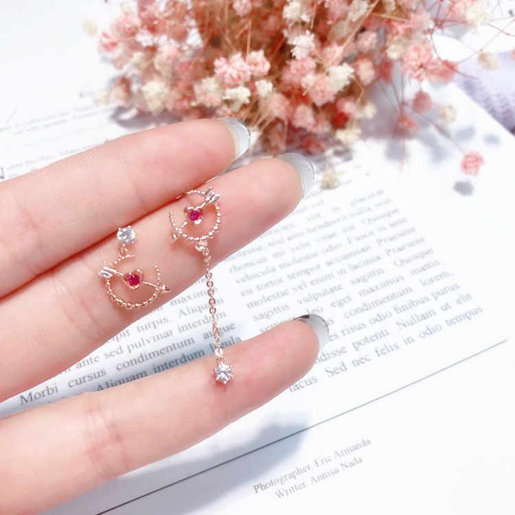 MENGJIQIAO 2018 New Korean Creative Arrow Love Heart Asymmetric Earrings For Women Romantic Jewelry Rhinestone Pendant Brincos