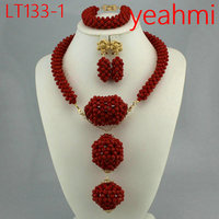Dubai Gold Jewelry Sets for Women 2018 Bridal Gift Nigerian Wedding African Beads Jewelry Set Chunky Pendant Necklace LT133 2