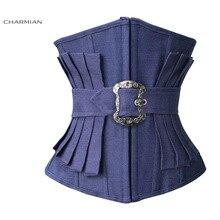 Charmian Womens Sexy Fashion Denim Underbust Corset Effect Pleated Waist Trainer Body Shaper