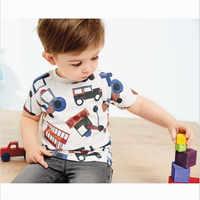 Mètres de saut bébé garçons vêtements coton t-shirts avec des voitures tracteur imprimer à manches courtes enfants t-shirts hauts d'été garçons fille chemise