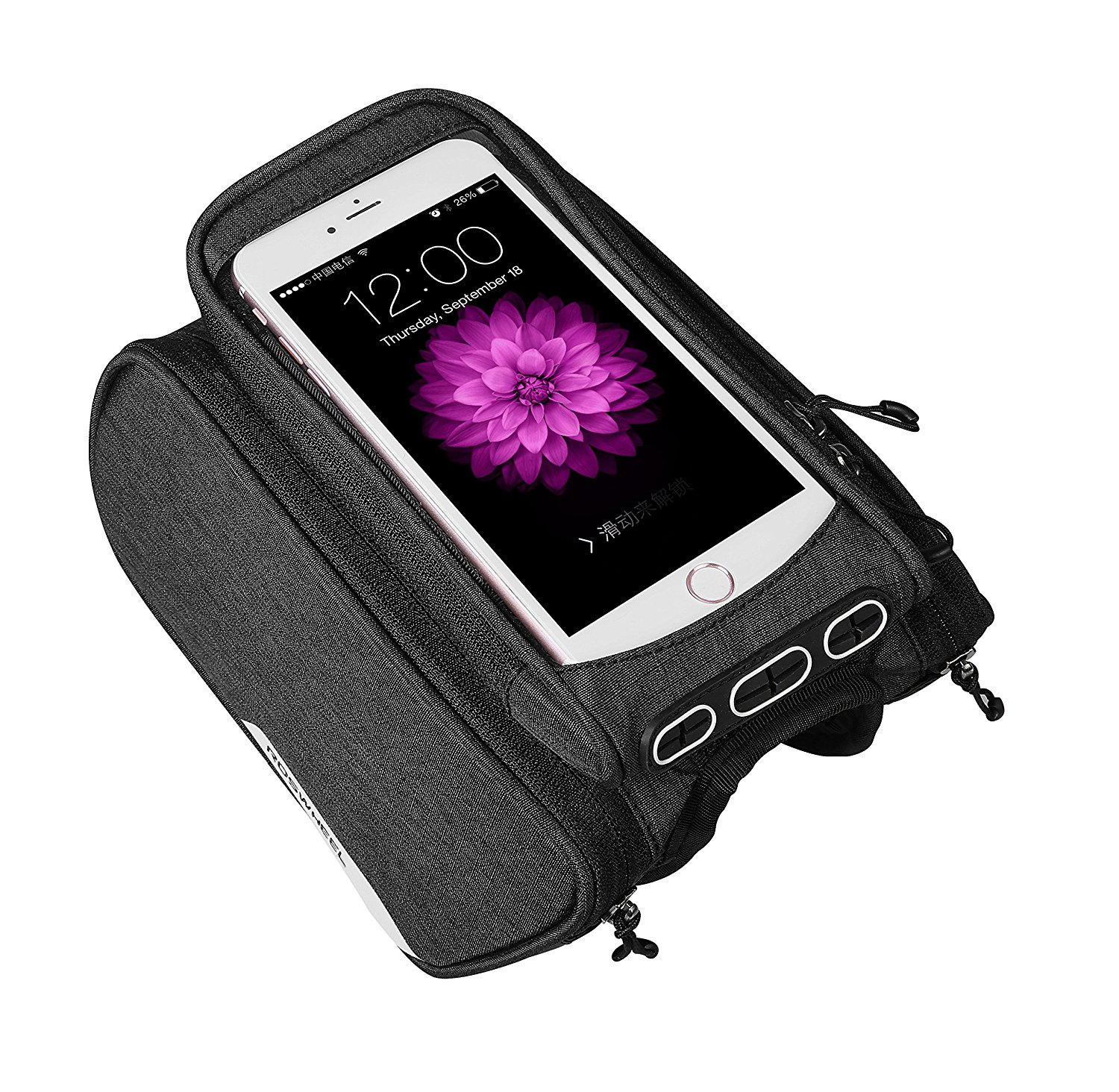TELEPHONE Red Bicycle Frame Bag Double Pouch Phone Holder Water Resistant Bike Front Top Tube Pannier Bag with Removable Touch Screen Phone Case For Cellphone Screen up to 6.2 155mm